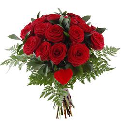 Bukiet 18 róż z sercem